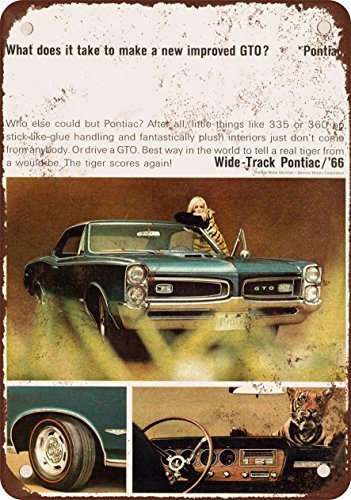 (1966 Pontiac GTO Vintage Look Reproduction Metal Tin Sign 12X18 Inches)
