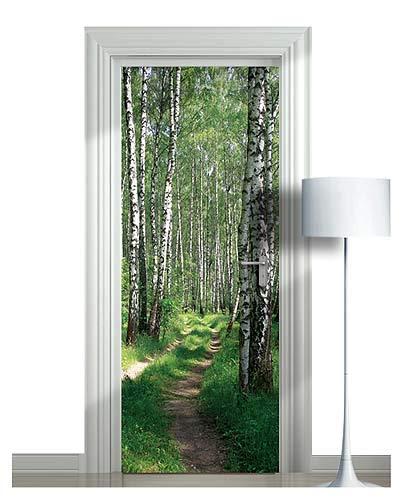 - WonderlandWalls Premium Sticker for Door/Wall/Fridge - Birches, Forest, Alley. ONE Piece Sticky Mural, Decal, Cover. All Door Sizes! (24