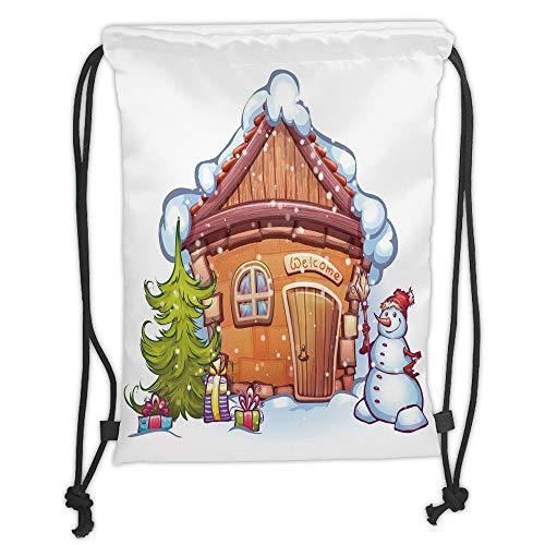 (New Fashion Gym Drawstring Backpacks Bags,Christmas,Cartoon Style Cute House with Snowy Roof Snowman and Fir Tree Presents,Caramel Green White Soft Satin,Adjustable String)