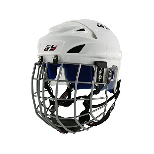 GY Upgrade Classical New PP Ice Hockey Helmet Blue Impact Resistance PU Liner in White Color Mix Size (White, XL) - In Line Hockey Helmets