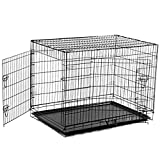 PawHut 48-Inch Large Two Door Folding Dog Crate Cage Kennel, Black