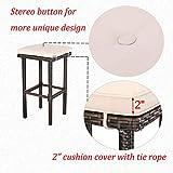 HTTH Bar Furniture Rattan Bar Table 3 Pieces Patio