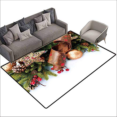 Large Floor Mats for Living Room Colorful Christmas,Pine Cones with Garland Tree Topper Star Mistletoe and Swirled Ornate Elements,Multicolor 48