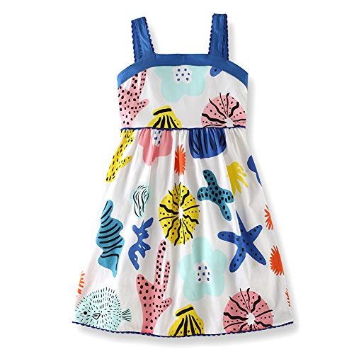 Frogwill Toddler Girls Fifties Summer Dress Blue Rainbow 2-7Y (5T, Navy)
