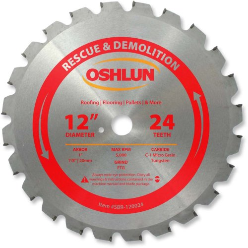 (Oshlun SBR-120024 12-Inch 24 Tooth FTG Saw Blade with 1-Inch Arbor (7/8-Inch and 20mm Bushings) for Rescue and Demolition)