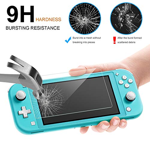 Fyoung Clear Translucent Soft TPU Protective Cover Case for Nintendo Switch Lite with a Glass Screen Protector Accessories Kits for Switch Lite (Turquoise)