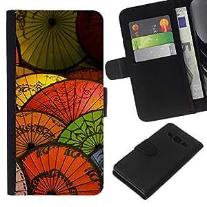 KingStore / Leather Etui en cuir / Samsung Galaxy A3 / Oriental de papel china Paraguas japonés