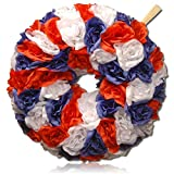 "Custom & Unique (14"" Inches) 1 Single Mid-Size Decorative Holiday Wreath for Door, Made of Polyester, Metal, & Resin w/ Festive 4th of July Independence Day Rose Flowers Style (Red, White, & Blue}"