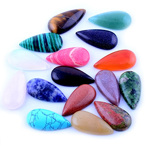 Cabochon Waterdrop Teardrop Chakra Beads 12pcs 15X30mm CAB Healing Beads Crystal Quartz Stone Random Color Wholesale for Jewelry Making(No Holes) -