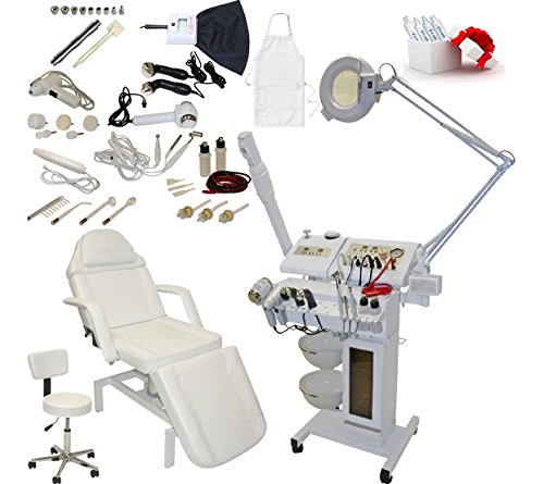 14 in 1 Multifunction Diamond Microdermabrasion Facial Machine & Fully Adjustable Hydraulic Massage Bed Chair Table Package Salon Spa Beauty Equipment by LCL Beauty