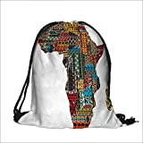 Pocket Drawstring Bag Collection Africa Map with Countries Made of Architectural Feature Popular Ancient Continent Art Backpack Student Bag 12''W x 16''H