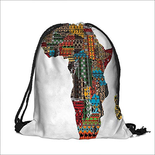 Pocket Drawstring Bag Collection Africa Map with Countries Made of Architectural Feature Popular Ancient Continent Art Backpack Student Bag 12''W x 16''H by Nalahome