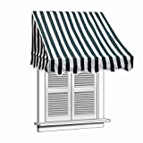 ALEKO 4x2 Feet Green/White Stripe Window Awning Door Canopy 4-Foot Decorator Awning