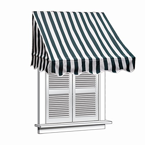 ALEKO 4x2 Feet Green/White Stripe Window Awning Door Canopy 4-Foot Decorator Awning by Alekoa