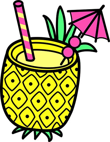 Cute Summer Time Colorful Elements Cartoon Art Vinyl Sticker, Pina Colada in Pineapple Drink