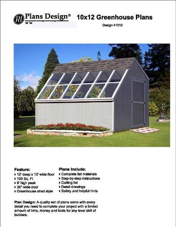 10' x 12' Backyard Storage Shed / Garden Greenhouse Project Plans, #41012 by Plans (Plans Yard)