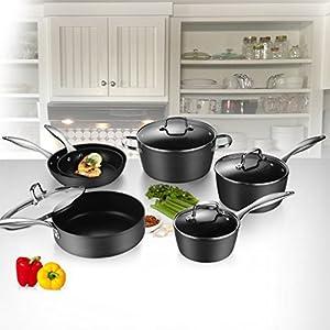 COOKSMARK 10-Piece Pots and Pans Set Induction Nonstick Hard-Anodized Aluminium Dishwasher Safe Cookware with Glas Lids Kingbox Black