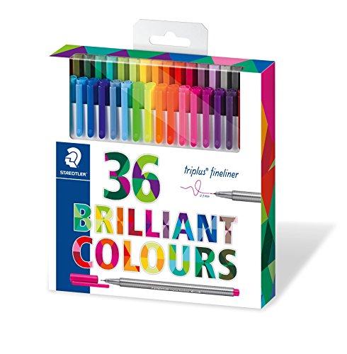 Staedtler Color Pen Set, Set of 36 Assorted Colors (Triplus Fineliner Pens) (Colour Staedtler Triplus)
