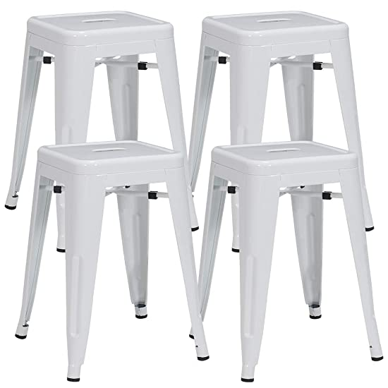 Duhome 4 pcs 18 Metal Chairs Tolix Style Dining Stools Indoor Outdoor Restaurant Cafe Industrial Design White