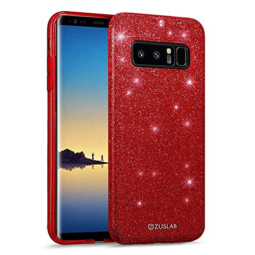 Samsung Galaxy Note 8 Case, ZUSLAB Bling Glitter Sparkle 3 Layer Hybrib Shockproof Thin Soft Flexible TPU Gel Cover for Samsung Galaxy Note 8 (Red) (Red Bling Case Note 4)