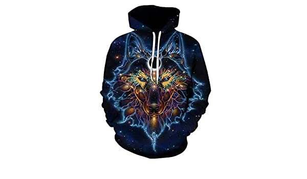 Amazon.com: 3D Print Galaxg Space Wolf Hoodie Men Hiphop Punk Pullover Sweatshirt with Unisex Hipster Tracksuit Hooded Coat: Clothing