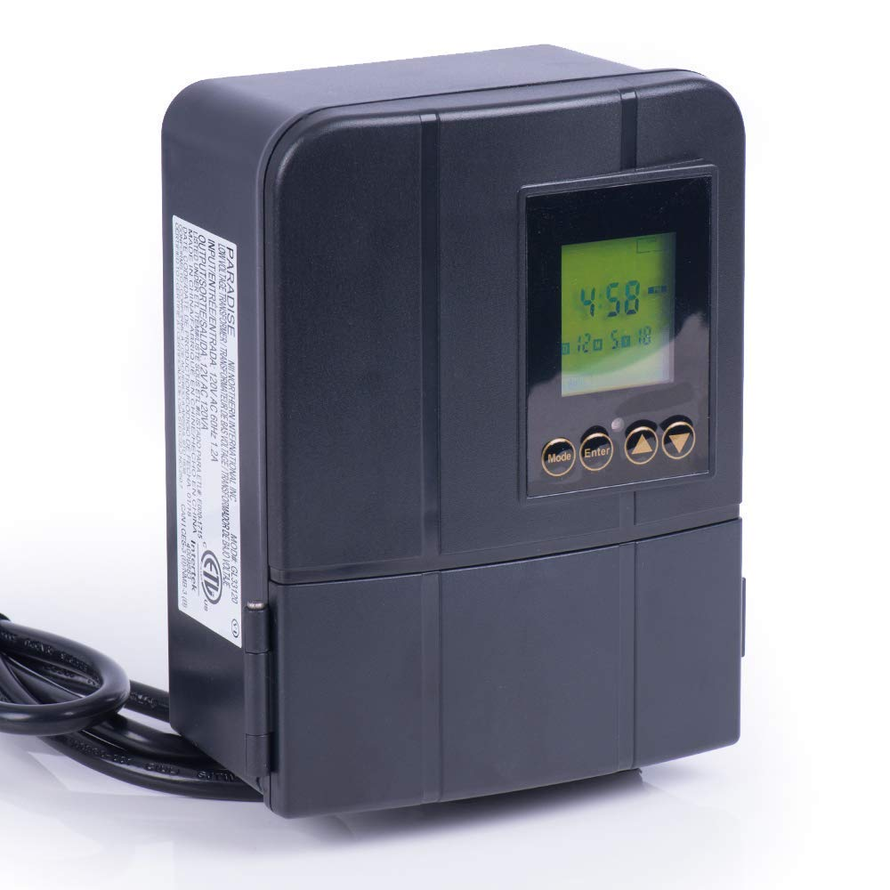 Paradise by Sterno Home 12V 120W Transformer For Outdoor Landscape Lighting, Astronomical timer, Dusk-To-Dawn, Weathe