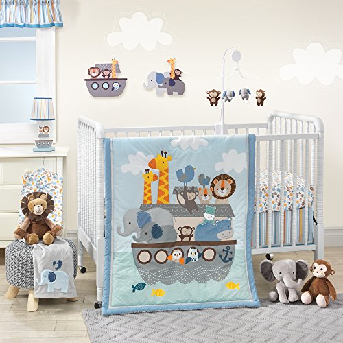 o By Two Noah's Ark 3 Piece Crib Bedding Set, Blue/Gray (Animal Ark Crib)
