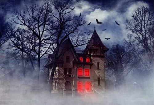 OFILA Haunted House Backdrop 9x6ft Halloween Party Photography Background Halloween Spooky Graveyard Crow Full Moon Night Halloween Eve Decoration Gloomy Background Video Props ()
