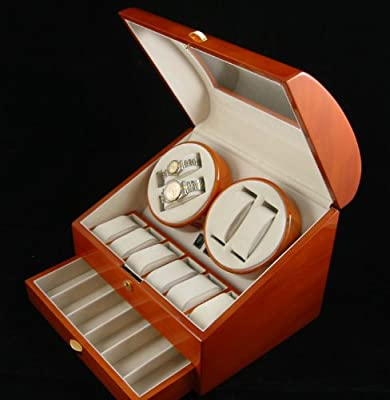 Quality Wood Quad Watch Winder (4) +12 Storage Box