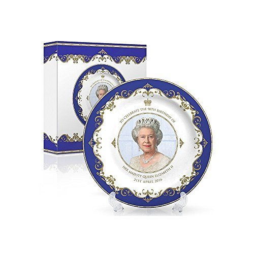 Queen Elizabeth II 90th Anniversary Commemorative Bone China Plate 4 by Country