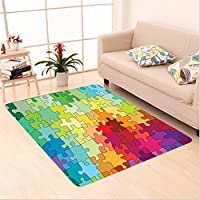 Nalahome Custom carpet act Colorful Puzzle Pieces Fractal Children Hobby Activity Leisure Toys Cartoon Image Multicolor area rugs for Living Dining Room Bedroom Hallway Office Carpet (22x36)