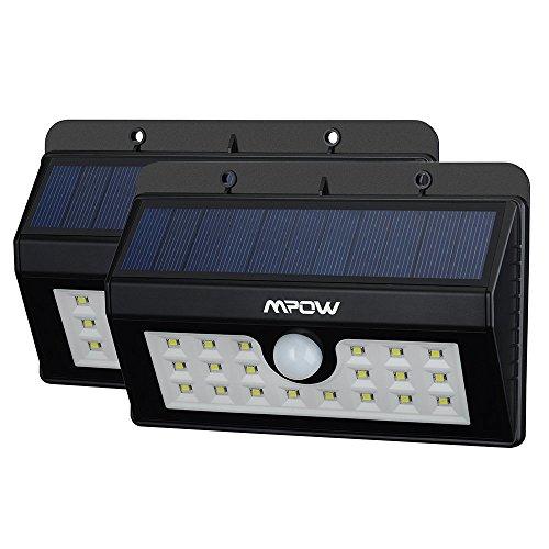 Mpow 2 Stück LED Solarleuchten [3 Intelligente Modi] Mpow 3-in-1 Wireless Wetterfeste Licht Bewegungs Sensor Lampe mit 20 LED für Garten, im Freien, Zaun, Terrasse, Garten, Haus, Auffahrt, Treppen, Außenwand usw.