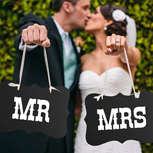 Pixnor MR MRS Chair Bunting Banner Garland Wedding Photo Props Decoration (Mr Banner And Mrs Silver)