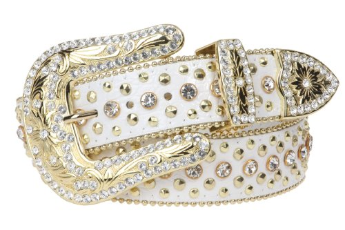Snap On Western Cowgirl Alligator Rhinestone Studded Leather Belt, White | - Western Rhinestone White Belt