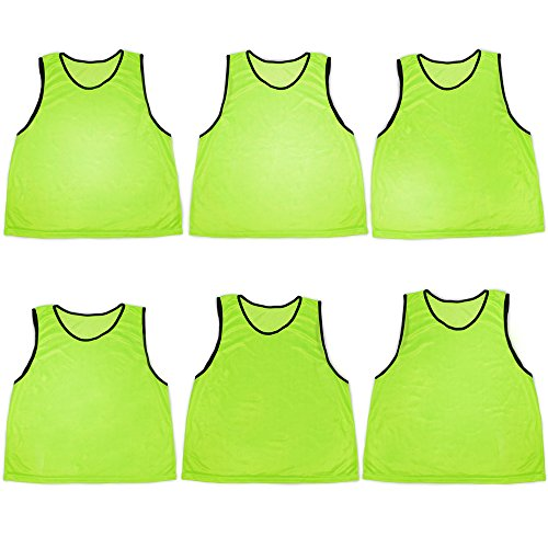 Pack of 6 Adult Size Sports Scrimmage Pinnies with Mesh Storage Bag by Crown Sporting Goods (Green)