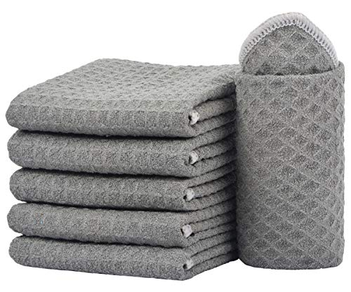(SINLAND Thick Microfiber Dish Cloths Waffle Weave Kitchen Cleaning Cloth Dish Rags 13inch X 13inch 6 Pack Grey)