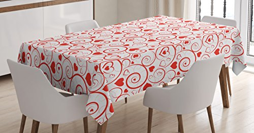 Swirl Garden - Ambesonne Love Decor Tablecloth by, Love Hearts and Swirls Ornament Classic Gardens Romantic Happiness Spring, Dining Room Kitchen Rectangular Table Cover, 60 X 84 Inches