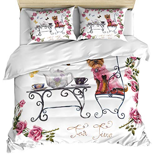 (Yorkie 3 Piece Bedding Set Comforter Cover Queen Size, Yorkshire Terrier in Pink Dress Having a Tea Party Butterflies Roses,Duvet Cover Set Bedspread Daybed with Zipper Closure for Kids/Teens/Adults)