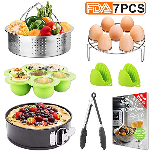 Tecvinci 7 Pcs Accessories Set Compatible with Instant Pot 5,6,8 Qt, Stainless Steel Steamer Basket, Egg Steamer Rack, Food Tongs, Silicone Molds etc. Best Pressure Cooker Accessories with Free recipe -