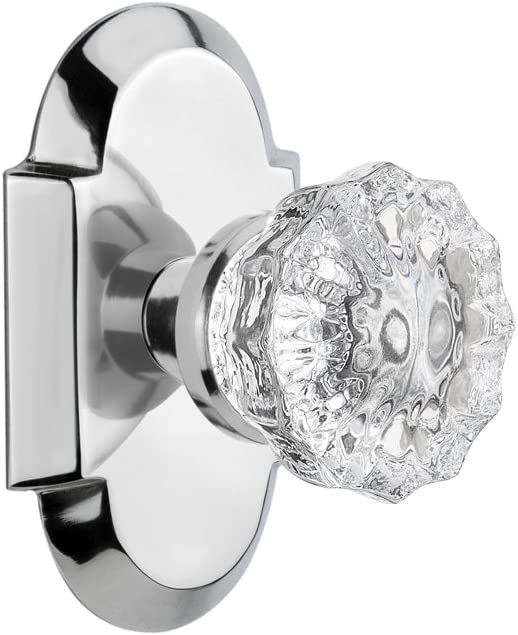 2.75 Privacy Nostalgic Warehouse Cottage Plate with Oval Fluted Crystal Glass Door Knob Antique Pewter