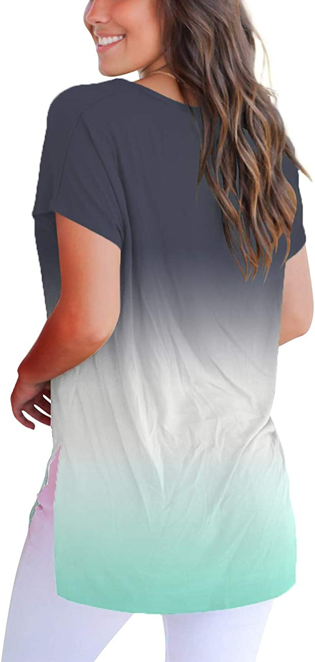 FAVALIVE Womens Short Sleeve T Shirt V Neck Loose High Low Tee Shirts