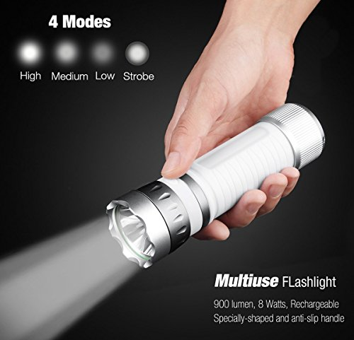 Amostik 900 Lumens Tactical Flashlight with Camping Lantern, USB Rechargeable 2600mA Power Bank for Mobile Charging- Bike Headlights and Taillight Set with Free Magic Scarf ()