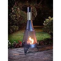 A2Z HOME SOLUTIONS Outdoor Chimenea Outdoor Garden Patio Heater Chimnea Wood Burner Steel Chiminea (Modern 120cm)