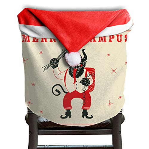EDYE Merry Krampus Christmas Demon Christmas Xmas Themed Dinning Seat Chair Cap Hat Covers Ornaments for Backers Slipcovers Wraps Coverings Decorations Protector Set -