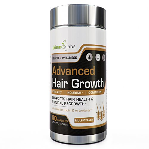 Advanced Hair Growth Formula for Healthier and Stronger Hair, Skin, Nails with Vitamins A, C, E, and Biotin - 60 Capsules by Prime Labs