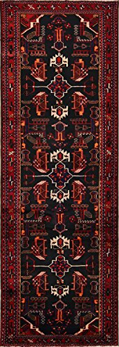 Rug Source One-of-A-Kind Nahavand Tribal Hand Made 3x10 Black Wool Persian Oriental Runner Rug (10' 5