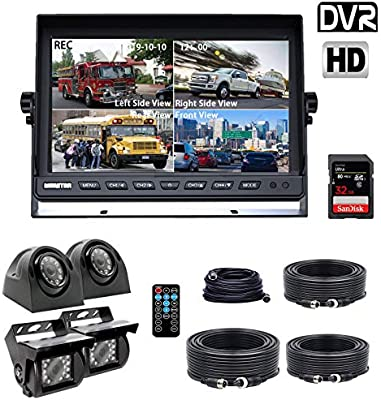 Backup Camera System >> Douxury Backup Camera System 4 Split Screen 9 Quad View Display Hd Monitor With Dvr Recording Function Waterproof Night Vision Cameras X 4 For