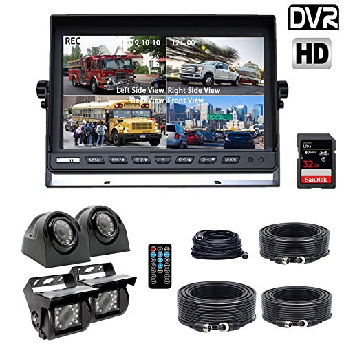 Douxury Backup Camera System, 4 Splite Screen 9'' Quad View Display HD Monitor with DVR Recording Function, Waterproof Night Vision Cameras x 4 for Truck Trailer Heavy Box Truck RV Camper Bus