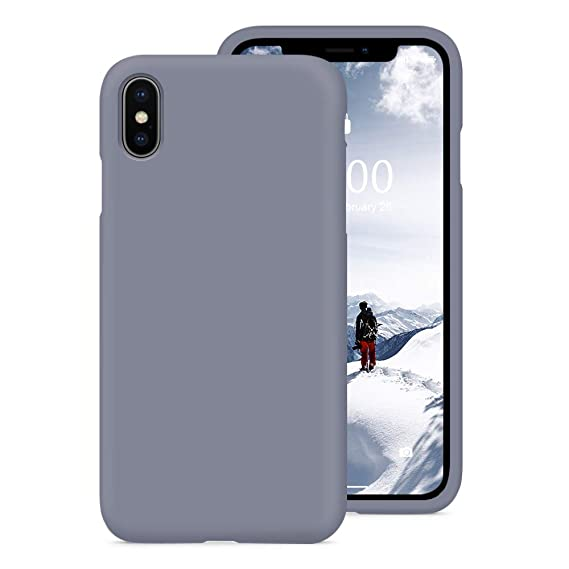hot sale online 487dd fe804 PCGAGA iPhone Xs Silicone Case, Liquid Silicone Gel Rubber Shockproof Case  with Soft Microfiber Cloth Lining Cushion for Apple iPhone Xs 5.8 inches,  ...