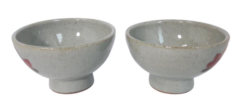 "GoodDay Living Set of 2 3.3"" Korean Traditional Soft Blue Color Ceramic Cups Bowls for Traditional Rice Wine"